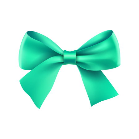 Decorative turquoise ribbon bow. Realistic decoration for holiday. Elegant silk accessory for clothes. Holyday design element isolated on white. Elegant object from silk vector illustration.