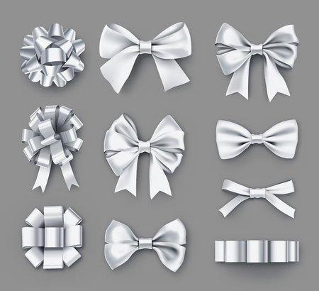 Pretty white gift bows with ribbons Illustration