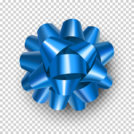 Beautiful blue ribbon bow with shadow isolated on transparent background. Realistic decoration for holidays presents and cards. Bright decorate object from satin tape vector illustration.