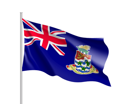 Waving national flag of Cayman Islands. Illustration of Caribbean country flag on flagpole. Vector 3d icon isolated on white background Çizim