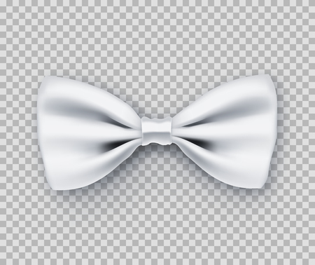 Sparkling white bow tie from satin material. Wedding ceremony accessory for groom and best man isolated on transparent background. Realistic formal wear. Elegant clothes from silk vector illustration.