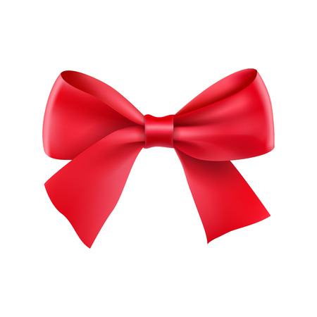 Decorative red ribbon bow. Realistic decoration for holiday. Elegant silk accessory for clothes. Holyday design element isolated on white. Elegant object from silk vector illustration.