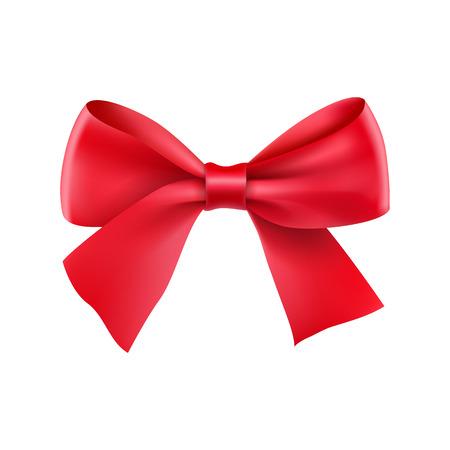 Fiocco decorativo in nastro rosso. Decorazione realistica per le vacanze. Elegante accessorio in seta per i vestiti. Elemento di disegno di festa isolato su bianco. Oggetto elegante da illustrazione vettoriale di seta.