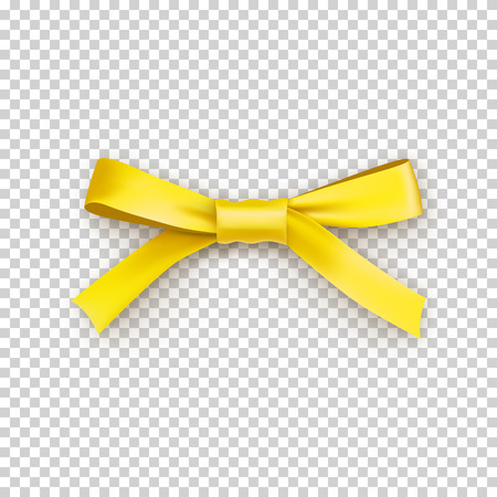 Lemony gift bow from satin thin tape isolated on transparent background. Realistic decoration for any holidays presents or flowers. Elegant object from silk ribbon vector illustration. 일러스트