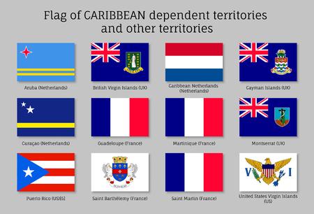 Bandiere dei territori dipendenti dai Caraibi Vettoriali