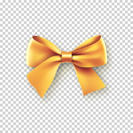 Fashionable gold bow with ribbon Stock Illustratie