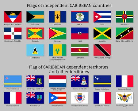 Drapeaux des pays des Caraïbes Vecteurs