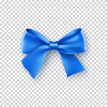 Fashionable blue bow with ribbon