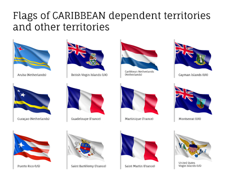 Curved flags of Caribbean dependent territories