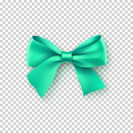 Fashionable turquoise bow with ribbon