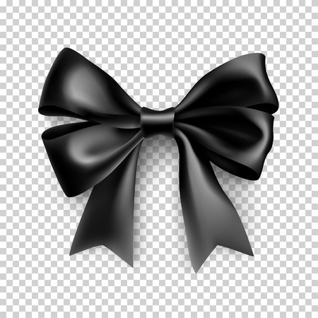 Decorative black bow with ribbon Illustration
