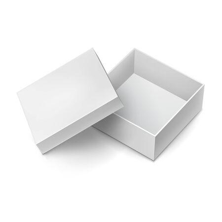 Boîte en carton cadeau ouverte avec maquette de capuchon