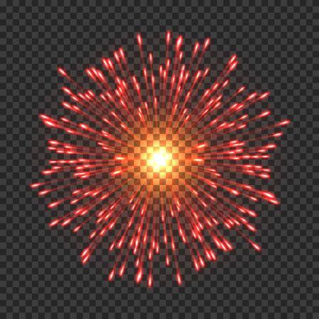 Festive fireworks with bright golden sparks