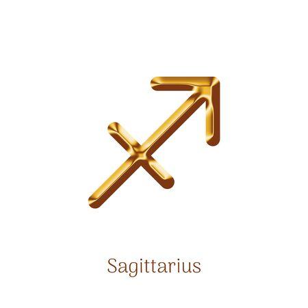 Sagittarius golden zodiac sign isolated on white Ilustração