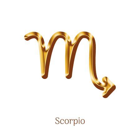 Scorpio golden zodiac sign isolated on white