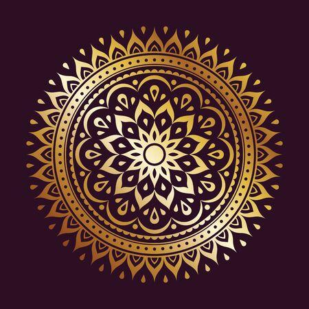 Golden gradient mandala decoration element