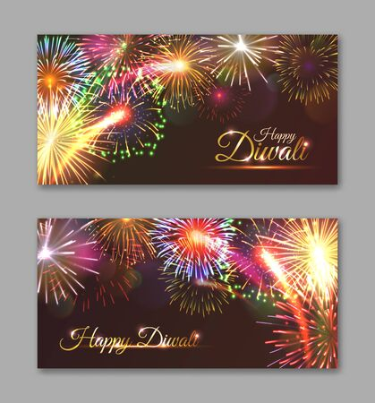 Happy Diwali horizontal flyers design