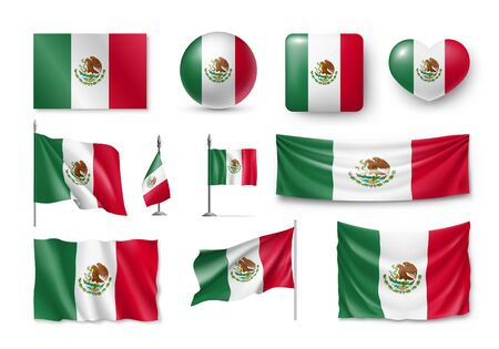 Various flags of Mexico country