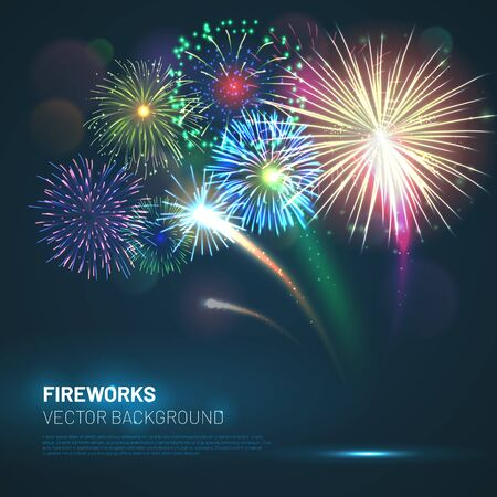 Realistic fireworks explosions with shining sparks Stock Illustratie