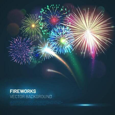 Realistic fireworks explosions with shining sparks Ilustração