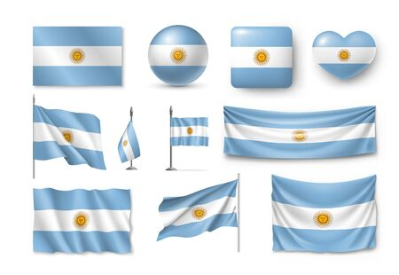 Various flags of Argentina country