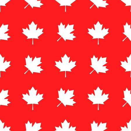 Canadian patriotic seamless pattern with national colors. White maple leaves repeat in row on red background. Simple design for wrapping or textile printing vector illustration.
