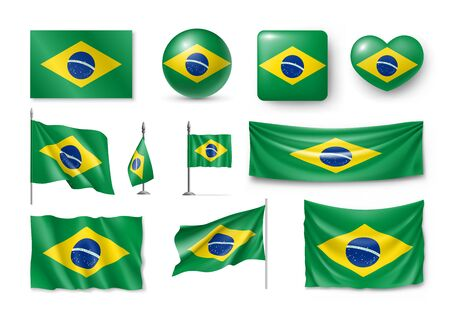 Various flags of Brazil country Stock Illustratie