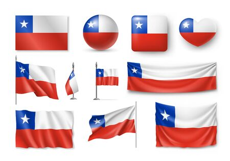 Various flags of Chile country