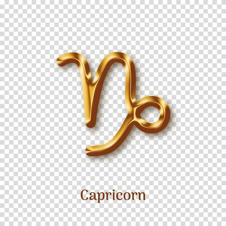 Capricorn golden zodiac sign on transparent background Ilustração