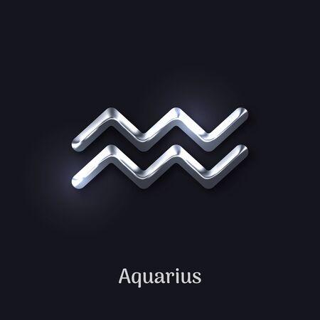 Aquarius silver zodiac sign on black background