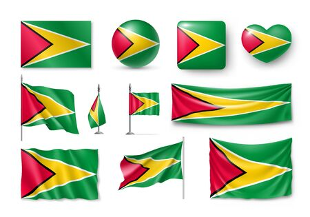 Various flags of Guyana country