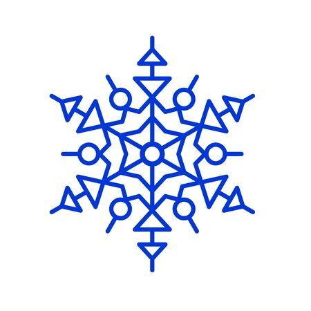 Blue thin line snowflake. vector illustration