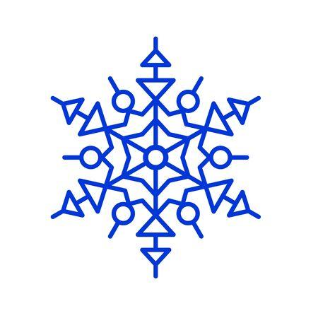 Blue thin line snowflake. vector illustration