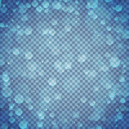 Transparent bokeh blue background. Vector illustration.