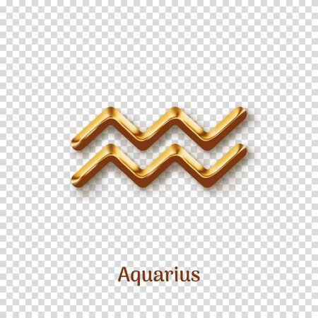 Aquarius golden zodiac isolated sign