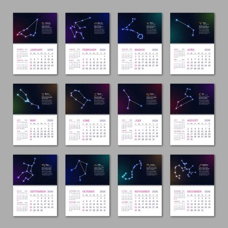 Wall calendar pages set for 2020 year 일러스트