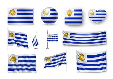 Various flags of Uruguay country
