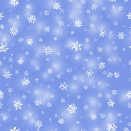 Winter background with white snowflakes Çizim