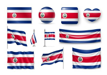 Various flags of Costa Rica country Ilustrace