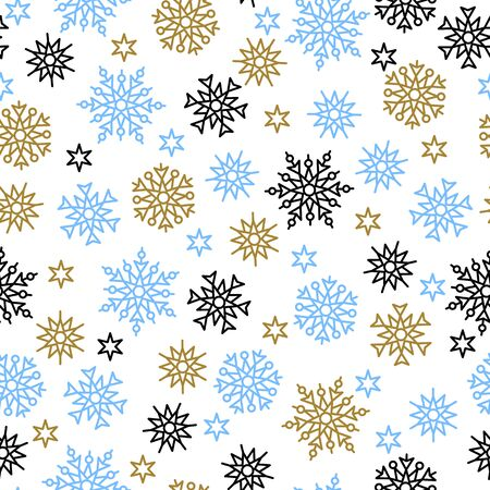 Elegant Merry Christmas seamless pattern with snowflakes. Outline colorful snowflakes on white background. Perfect for winter season wallpaper, wrapping paper or textile vector illustration.