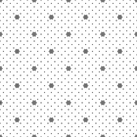 Christmas seamless pattern with snowflakes. Outline snowflakes and drops falling on white background. Template for scrapbooking paper printing. Winter season wallpaper vector illustration.