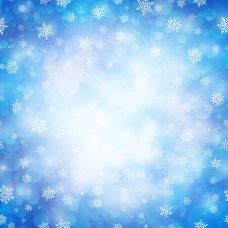 Magic winter glitter background with snowflakes. White snowflakes on light blue blurred backdrop. Template for Happy New Year and Merry Xmas holiday banners decoration vector illustration. Illusztráció