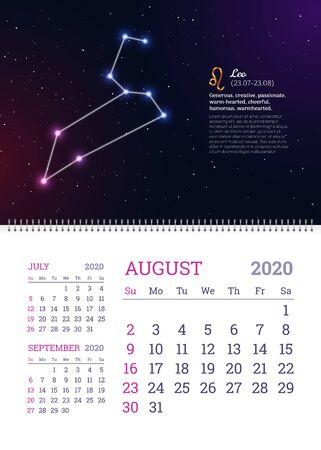 Wall calendar for August 2020 year