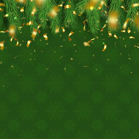 Festive winter party layout with fluffy fir tree branches and gold shining confetti. Green Christmas pattern with snowflakes. Merry Christmas banner with realistic conifer branches vector illustration
