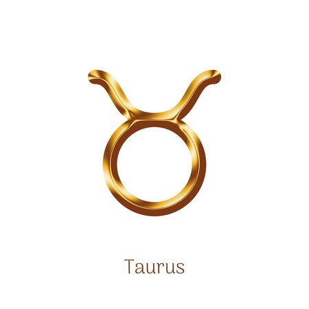 Taurus golden zodiac isolated sign