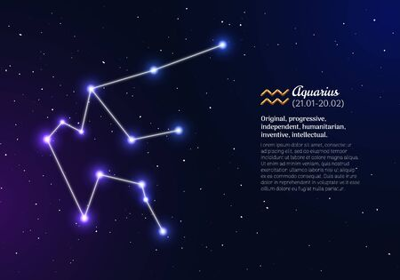 Aquarius zodiacal constellation with bright stars Stok Fotoğraf - 131965854