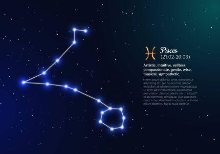 pisces zodiacal constellation with bright stars Illustration