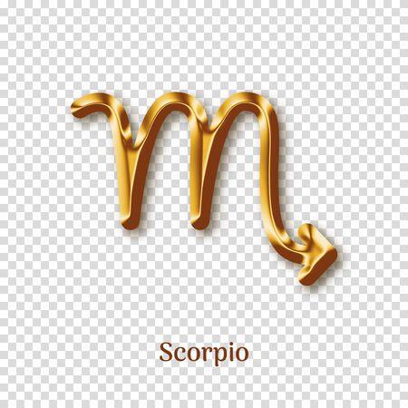 Scorpio gold metal zodiac sign Ilustração Vetorial