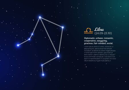 Libra zodiacal constellation with bright stars
