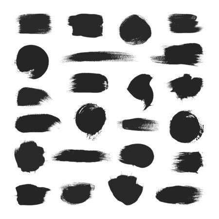 Black paintbrush strokes set isolated on white Illusztráció